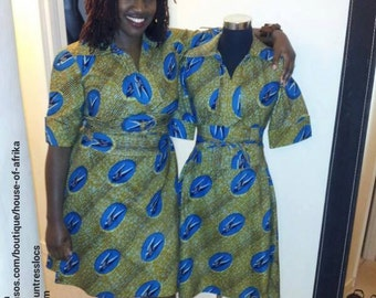 Vintage African print shirt dress with bird prints and separate wide obi belt