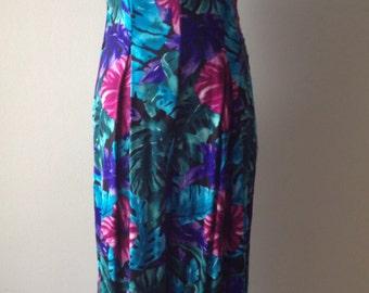 Vintage 1990's Floral Sleeveless Wide-Leg Jumpsuit / Onesie