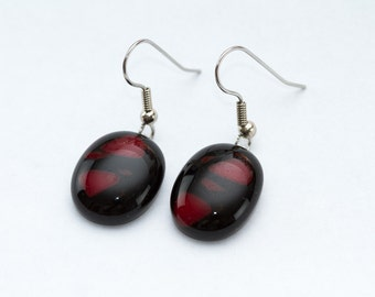 Black and Red Fused Glass Earrings