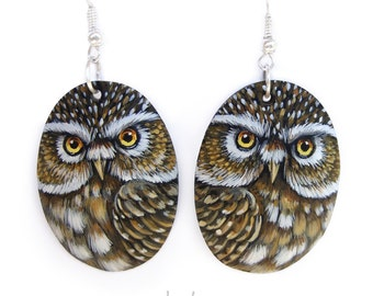Pair of Little Owl Earrings | Hand Painted Jewels