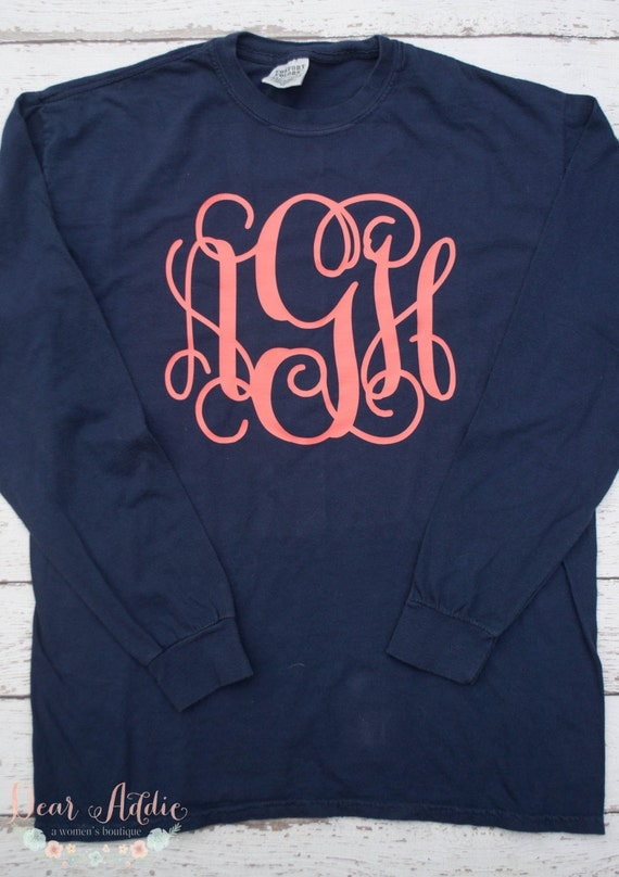 Items Similar To Monogrammed Comfort Colors Long Sleeve