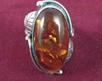 Vintage Sterling and Reconstituted Amber Ring - Size 8
