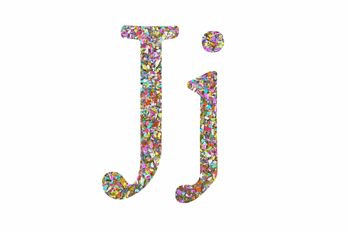 The Letter I In Rainbow Glitter