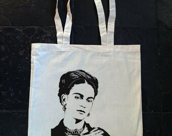 Frida Kahlo - Retro screen printed cotton tote bag