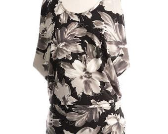 floral black grey tunic, oversized sleeveless womens top, blouson, de almeida designs