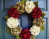 Beautiful Hydrangea Wreath | Summer Wreath | Front Door Wreaths | Door Wreaths | Fall Wreath | Wreaths for Door | Holiday Wreaths