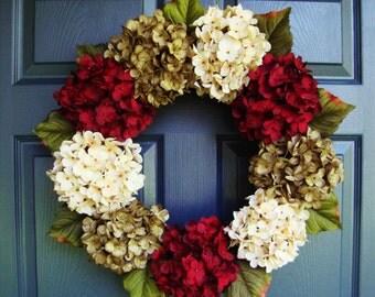 Beautiful Hydrangea Wreath   Summer Wreath   Front Door Wreaths   Door Wreaths   Fall Wreath   Wreaths for Door   Holiday Wreaths