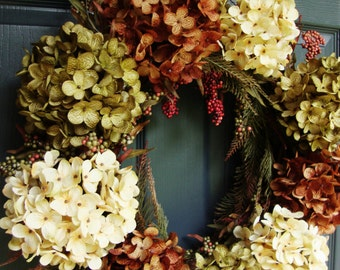 Fall Hydrangea & Berry Fall Wreath | Fall Wreath | Fall Decor | Autumn Wreath | Front Door Wreath | Wreath for Door | Thanksgiving Decor