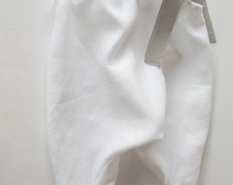 Linen baby girl overalls with bow. white, baptism, baby girl, baby shower, summer wear