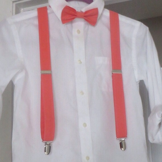 coral suspenders and bow tie adjustable newborn toddler