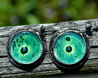 Bohemian earrings, drop earrings with mysterious glass, statement earrings, old silver dangle earrings