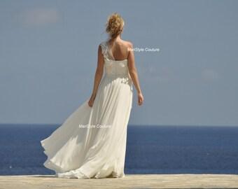 Wedding Dress Designer wedding Gown Floral One sholder Bohemian wedding dress Made to order