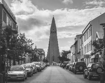 Hallgrimskirkja Photo Print: Iceland, Reykjavik, Church, Architecture, Street, B&W, Travel, 4x6, 5x7, 8x10, Snapshot, Polaroid, HG2