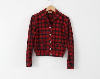 "vintage 1950s plaid jacket,  Bobbie Brooks ""Calgary"" coat"