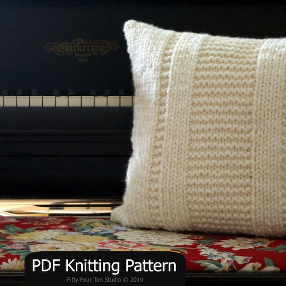 Easy Cushion Knitting Pattern : Pillow KNITTING PATTERN / Cushion / Quick & by FiftyFourTenStudio