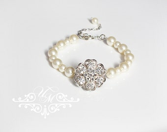 Wedding Jewelry Bridal Bracelet Bridesmaids Bracelet Rhinestone Flower Pearl Bracelet Swarovski Pearl Bracelet - SANNA