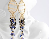 Reserved -- Dramatic statement earrings; Long gold filled gemstone chandeliers; Shoulder dusters; Blue black stone tassels; Artisan
