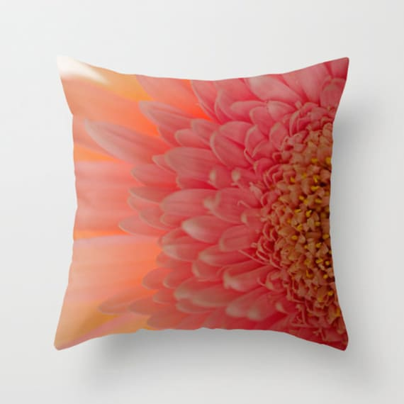 Pink Pillow Cover, Daisy Pillow, Pink and Yellow, Flower Photo, Photo Pillow Cover, Home Decor, Pink Nursery, Throw Pillow, Indoor, Outdoor