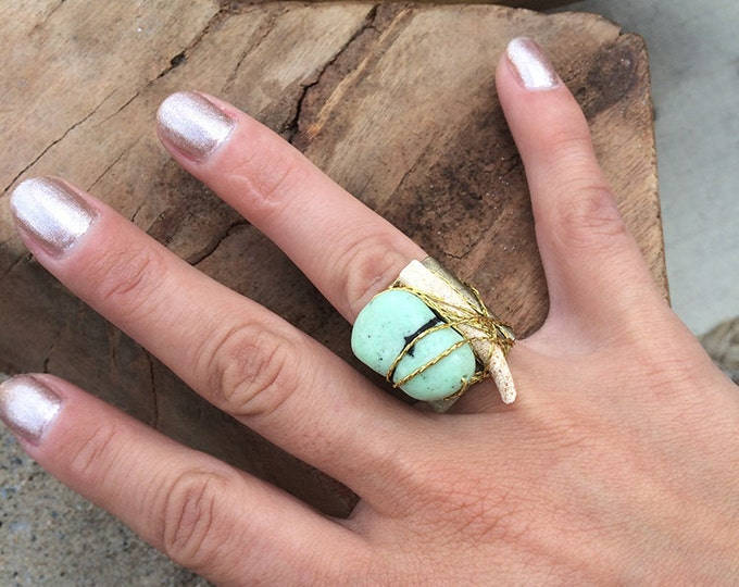 ONE OF A KIND Handmade Tribal Ring, Boho, Festival, Bone, Wrapped, Stone, Unique, Metal, Brass, Celebrity, Native (Wind Whisper Ring)