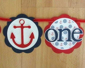 Nautical Anchor I Am 1 Age Highchair Banner Sign Birthday Party Shower Navy Red