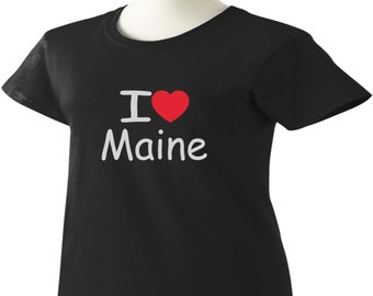 I Love Maine T-Shirt Heart ME Womens Ladies
