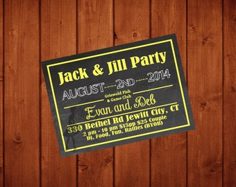 Handmade jack and jill invitations etsy for Jack and jill ticket templates