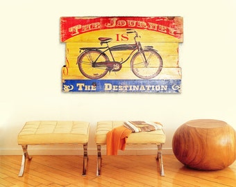 Vintage Bicycle Wall Art on Solid Wood Boards - The Journey is the Destination