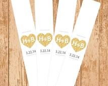 Gold Glitter Hearts Wedding Sparkler Holder - Printable PDF