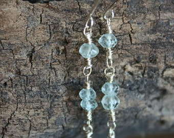 Light Blue Aquamarine Dangle Earrings; Sterling Silver; Aquamarine Earrings; Blue Earrings; Gemstone Earrings; Beaded; March Birthstone