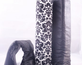 Pair of Boot Form Boot Trees - Knee High Vintage Creme and Black Damask with Cedar Fill