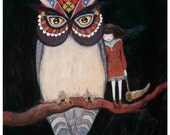Owl Painting Print  200gsm A4 Original, whimsical artwork by Ella Smethurst - Horned owl on branch with sad beautiful girl