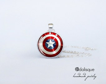 Captain America Pendant Shield Silver Necklace Handmade gift present jewelry birthday for him for her round circle Superhero key ring