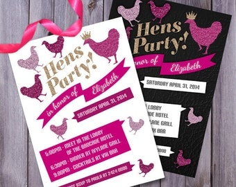 hen party invite, hens invitation, hens printable, bachelorette party, glitter hens invite, glitter bachelorette, hens invitation, glitter