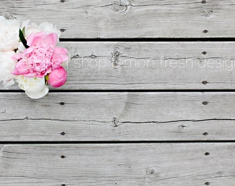 Styled Stock Photography - Pink and White Peony Wooden Background - Instant Download, Floral Photography, Flat Lay, Flatlays, Styled Stock