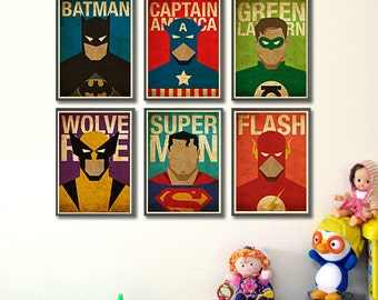 "Superheroes 8""x10"" Posters - Set of 6 Posters"