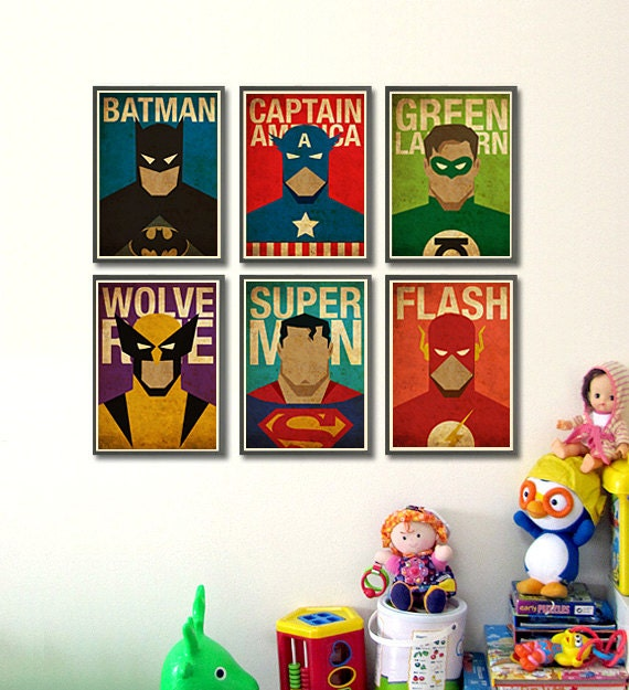 superheroes 8x10 posters set of 6 posters by mygeekposters