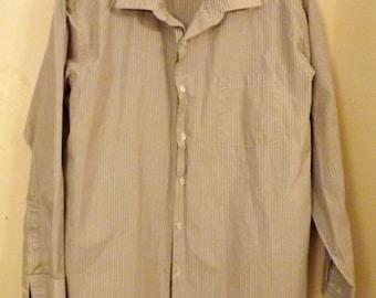 Blue Pinstripe Slim Fit Oxford Mens Shirt Size 15  1 / 2    32 /33