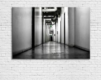 Black and White Hallway Canvas | B & W Prints | Ominous | Dark | Modern Art | Wall Art