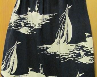 Upcycled Blue & White Sailboat Skirt, girls size 10/12