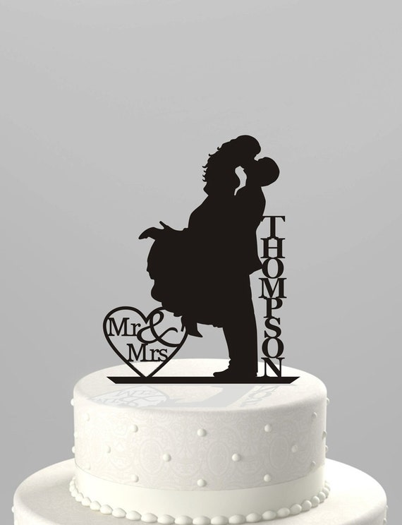 Wedding Cake Topper Silhouette Couple Mr Mrs Personalized