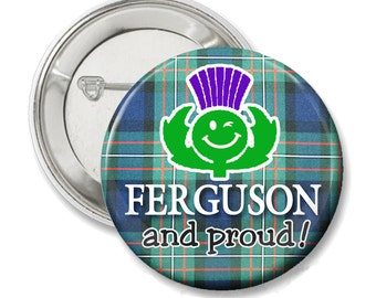 Ferguson and Proud, Scottish Pride tartan button or magnet, choose your tartan, Ferguson tartan shown