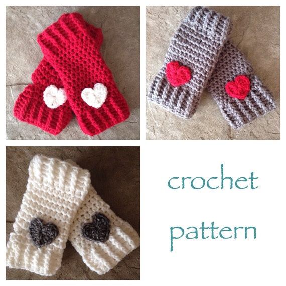 Crochet Fingerless Gloves Pattern Beginner : Valentine Heart Fingerless Gloves Crochet by MadeWithATwist