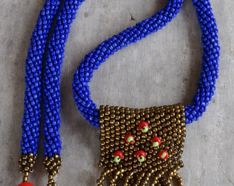 Bead Rope Necklace Blue Gold Red Fringed Pendant Beadwoven Peyote stitch