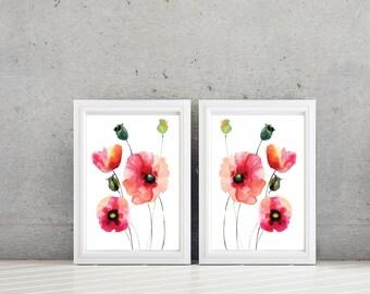 Watercolor Poppy Flower Art - Home Decor - Bathroom Art. Bath Decor. Bedroom Art. Flower Wall Art - Flower Bath Art. Poppy Decor  (NS-629)