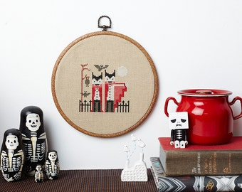 Fangtastic cute vampire counted cross stitch pattern PDF download - includes chart and instructions