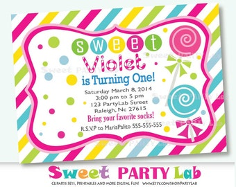 Printable CandyLand Sweet Shoppe  Invitation, Printable Birthday Invite, Custom Event Invite -D015 HBCL1