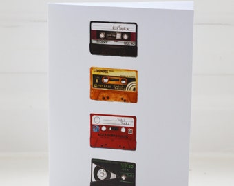 Retro cassette tape greeting card
