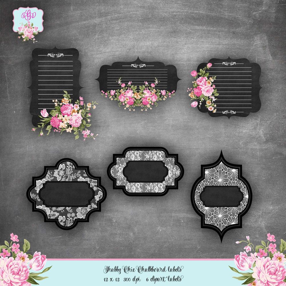 Shabby chic chalkboard labels digital clipart vintage for Shabby chic frames diy