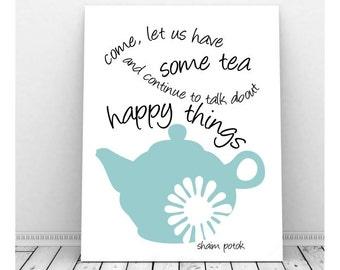 Tea Art Print, Instant Download, Tea Lover, Tea Picture, Vintage Tea Pot, Tea Art Print, Printable Art, Wall Decor, Tea Quote, Tea Poster