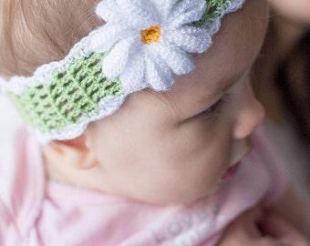 Daisy Baby Headband. Beautiful Baby Headband, Crochet Headbands, Crochet Headbands for Girls.